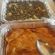 Peach Cobbler and Green Beans with Potatoes